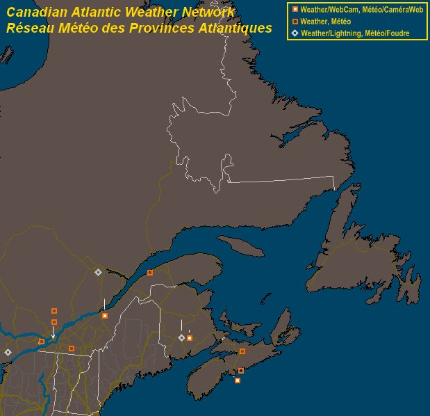 Mesomap of Canadian Atlantic Weather Network Stations